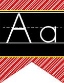 HOLLYWOOD - Alphabet Flag Banner, handwriting, A to Z, ABC print font