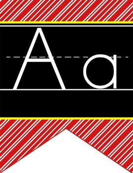 HOLLYWOOD - Alphabet Flag Banner, handwriting, A to Z, ABC print font