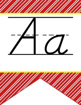 HOLLYWOOD - Alphabet Flag Banner, handwriting, A to Z, D' Nealian manuscript