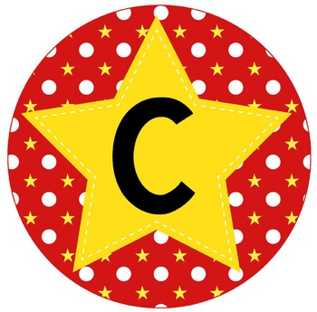 HOLLYWOOD - Bulletin Board Circle Letters / Word Wall / red