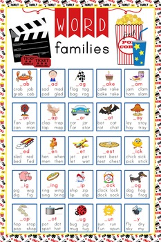HOLLYWOOD - Classroom Decor: Language Arts, Word Families POSTER - size 24 x 36