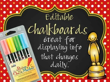 HOLLYWOOD - Classroom Decor: editable chalkboard  POSTERS