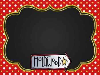 HOLLYWOOD - Classroom Decor: editable chalkboard  POSTERS / Bistro Chalk Markers