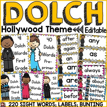 HOLLYWOOD MOVIE NIGHT CLASS DECOR: EDITABLE DOLCH WORDS: LABELS: BANNER