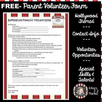 "FREE Hollywood/ Movie Themed ""Editable Parent Volunteer Template"""