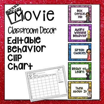 HOLLYWOOD MOVIE THEMED CLASSROOM DECOR BEHAVIOR CLIP CHART