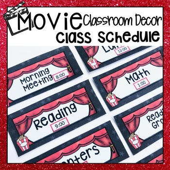HOLLYWOOD MOVIE THEMED CLASSROOM DECOR DAILY SCHEDULE DISPLAY CHART