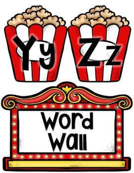 HOLLYWOOD MOVIE THEMED CLASSROOM DECOR EDITABLE POPCORN WORD WALL