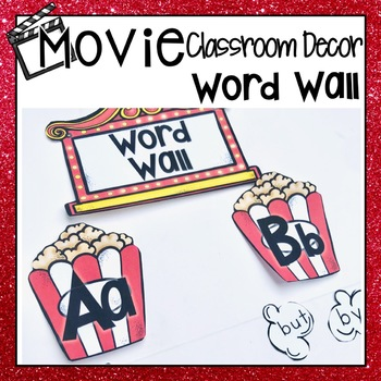 HOLLYWOOD MOVIE THEMED CLASSROOM DECOR EDITABLE POPCORN WORD WALL