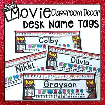 HOLLYWOOD MOVIE THEMED CLASSROOM DECOR EDITABLE STUDENT DESK NAME TAGS