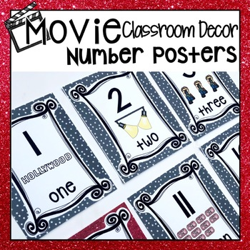 HOLLYWOOD MOVIE THEMED CLASSROOM DECOR NUMBER POSTERS