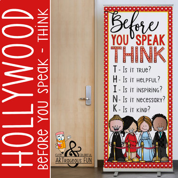 HOLLYWOOD Theme - Classroom Decor: LARGE  BANNER - Before You Speak