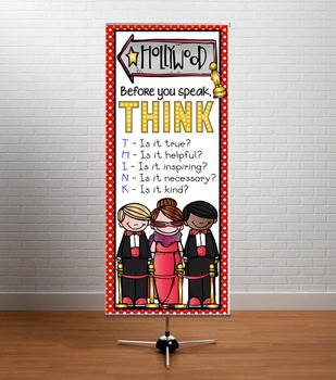 HOLLYWOOD Theme - Classroom Decor: LARGE  BANNER - Before You Speak, Vers B