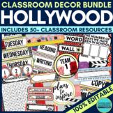 HOLLYWOOD THEME Classroom Decor - EDITABLE Clutter-Free Classroom Decor BUNDLE