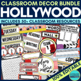 HOLLYWOOD THEME Classroom Decor - EDITABLE Clutter-Free Cl
