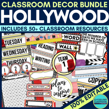 Hollywood Classroom Theme Decor Google Classroom by Clutter-Free