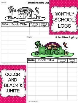 HOME MONTHLY READING LOGS AND SCHOOL MONTHLY READING LOGS FOR THE ENTIRE YEAR
