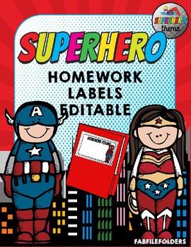 SUPERHERO HOMEWORK LABELS