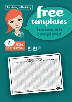 HOMEWORK MANAGEMENT - Homework Completed Template