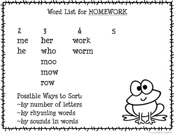 """HOMEWORK"" Mystery Word Lesson {Making Words}"