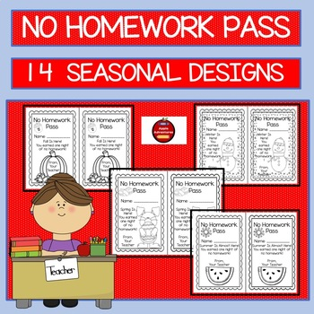 NO HOMEWORK PASS- SEASONAL DESIGNS