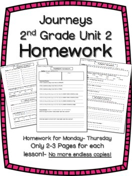HOMEWORK for Journeys 2nd Grade UNIT 2