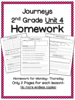 HOMEWORK for Journeys 2nd Grade UNIT 4