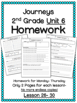 HOMEWORK for Journeys 2nd Grade UNIT 6