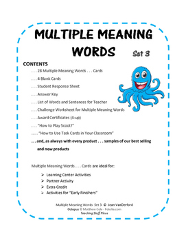 Multiple Meaning Words 3| VOCABULARY REVIEW | Homographs | Task Cards Gr 4-5