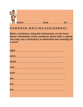 HOMONYM WRITING ASSIGNMENT GRADES 3-6