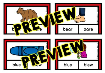 HOMOPHONES CLIP CARDS: GRAMMAR LITERACY CENTER