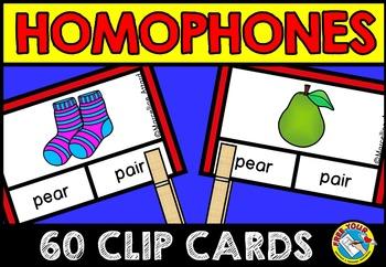 HOMOPHONES CLIP CARDS: GRAMMAR LITERACY CENTER