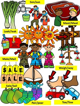 HOMOPHONES CLIP ART GRAPHICS- 210 IMAGES- 30 PAIRS (60 WORDS)