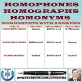 HOMOPHONES-HOMOGRAPHS-HOMONYMS WORKSHEETS WITH ANSWERS