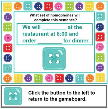 HOMOPHONES Cute AS A Button (Primary Level)  SMARTBOARD and Printable Cards