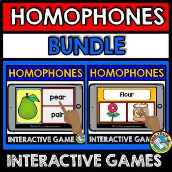 HOMOPHONES GAMES (BOOM CARDS LANGUAGE GAMES BUNDLE) GRAMMAR ACTIVITIES
