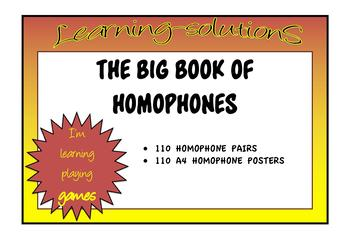 HOMOPHONES - THE BIG BOOK OF HOMOPHONES - 110 sets - A4 Posters