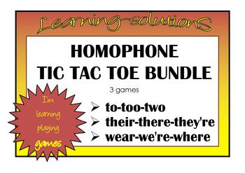 HOMOPHONES TIC TAC TOE BUNDLE  to/too/two, their/there/they're, wear/we're/where