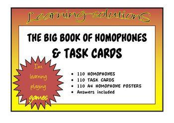 HOMOPHONES - The Big Book of Homophones - 110 Sets + 110 Task Cards + Answers