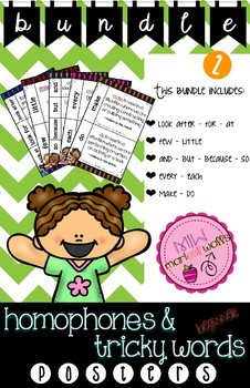 HOMOPHONES & TRICKY WORDS BUNDLE #2 ***5 posters***