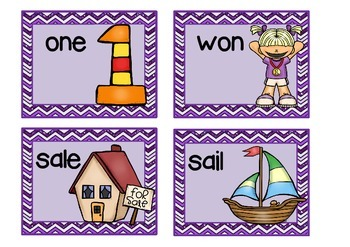 HOMOPHONES – sorting and matching cards IN COLOR