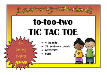 HOMOPHONES to-too-two TIC TAC TOE GAME