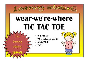 HOMOPHONES wear-we're-where TIC TAC TOE GAME