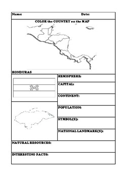 HONDURAS COUNTRY RESEARCH WORKSHEET