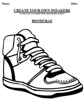 HONDURAS Design your own sneaker and writing worksheet