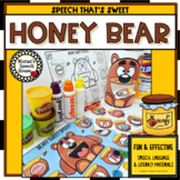 HONEY BEAR  FEEDING MOUTH speech worksheets EASY PREP & NO PREP