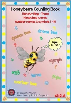 HANDWRITING BOOKLETS:HONEYBEE WORDS & PICTURES & NUMBER 1 - 10 - MEDIUM-6b2A