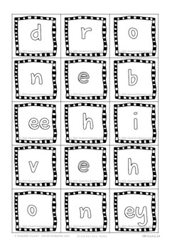 PHONICS CARDS:HONEYBEE WORDS & PICTURES: 5b-BLACK&WHITE