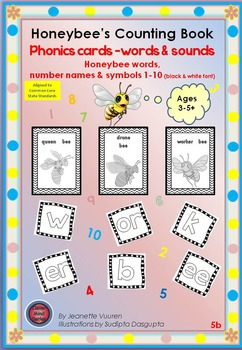 PHONICS CARDS:HONEYBEE WORDS & PICTURES: 5b-BLACK&WHITE