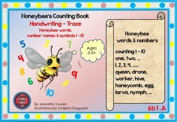 HANDWRITING CARDS:HONEYBEE WORDS & PICTURES & NUMBERS 1 - 10 - 6b1A